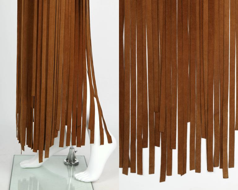 HERMES 1970s Brown Calf Skin Suede Leather Mini Long Maxi Fringe Skirt Size 38 For Sale 5