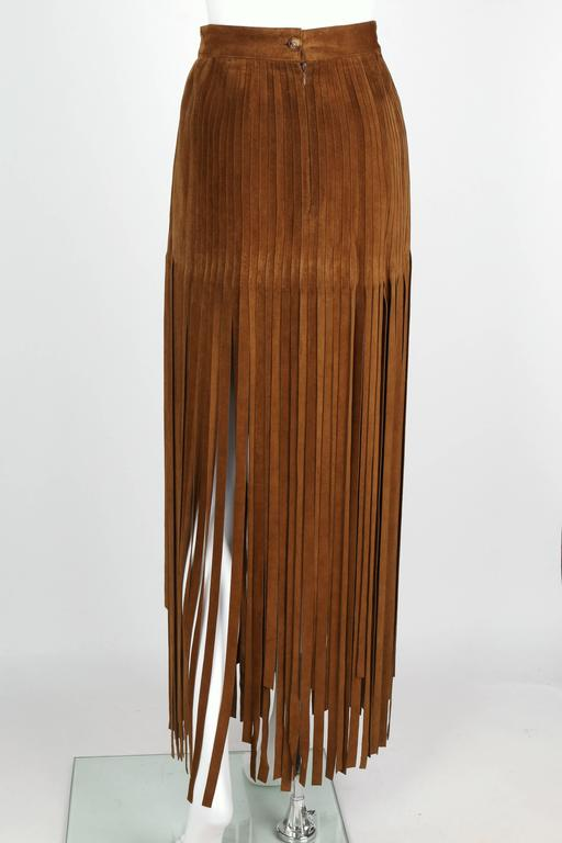 HERMES 1970s Brown Calf Skin Suede Leather Mini Long Maxi Fringe Skirt Size 38 5