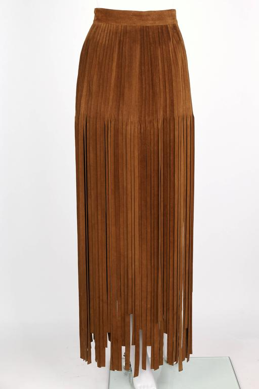 HERMES 1970s Brown Calf Skin Suede Leather Mini Long Maxi Fringe Skirt Size 38 In Excellent Condition For Sale In Thiensville, WI