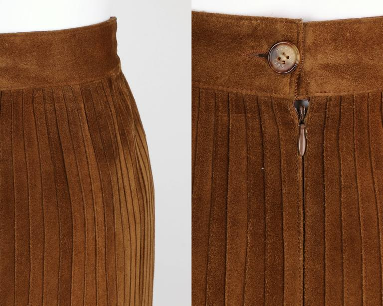 HERMES 1970s Brown Calf Skin Suede Leather Mini Long Maxi Fringe Skirt Size 38 8
