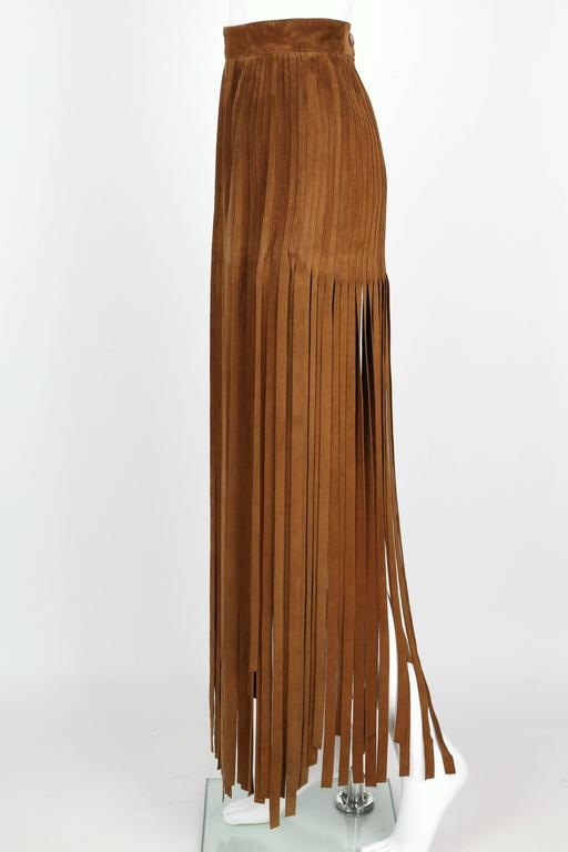 HERMES 1970s Brown Calf Skin Suede Leather Mini Long Maxi Fringe Skirt Size 38 6