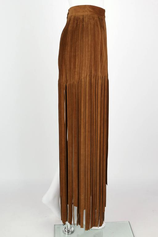 Women's HERMES 1970s Brown Calf Skin Suede Leather Mini Long Maxi Fringe Skirt Size 38 For Sale