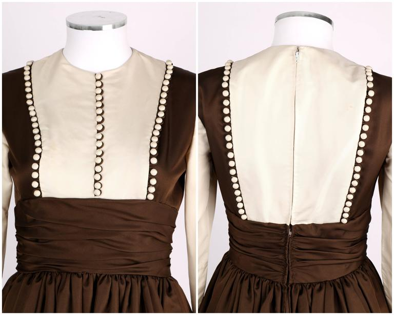 GEOFFREY BEENE A/W 1968 Brown Winter White Silk Faille Evening Gown Dress 6