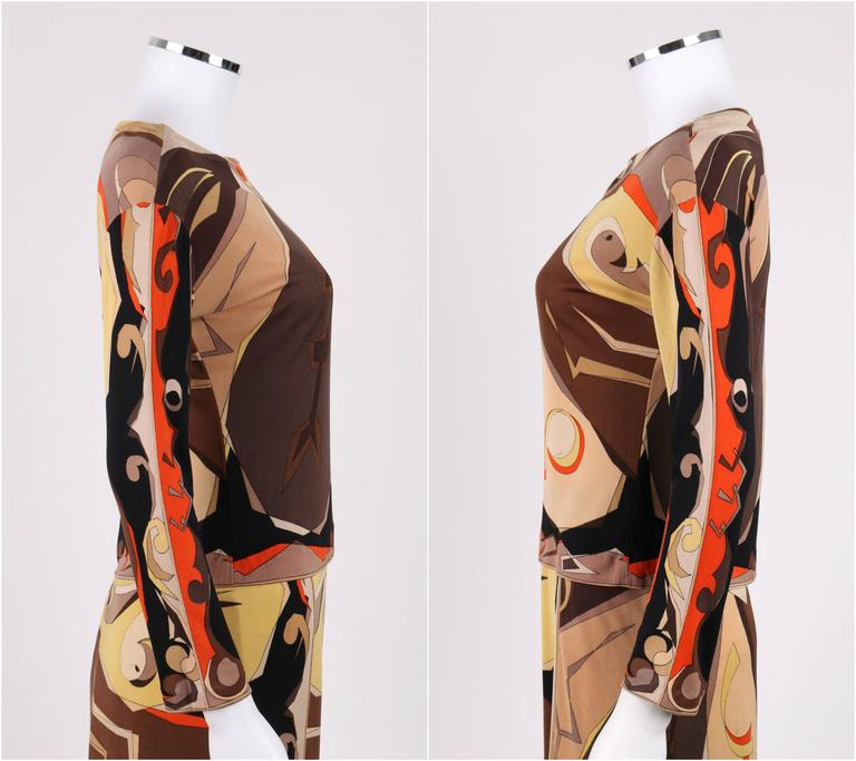 EMILIO PUCCI 1960s 2 Piece Brown Arrow Signature Print Silk Jersey Top Skirt Set In Good Condition For Sale In Thiensville, WI