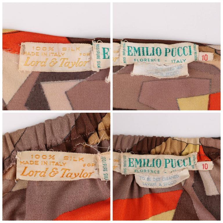 EMILIO PUCCI 1960s 2 Piece Brown Arrow Signature Print Silk Jersey Top Skirt Set For Sale 4
