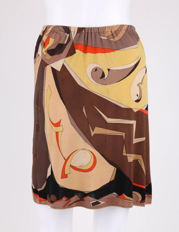 EMILIO PUCCI 1960s 2 Piece Brown Arrow Signature Print Silk Jersey Top Skirt Set For Sale 3