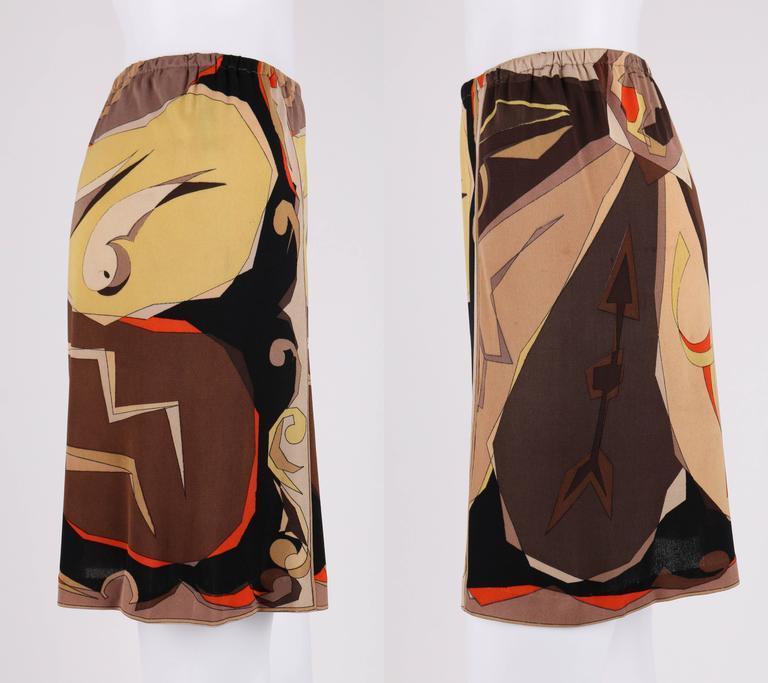 EMILIO PUCCI 1960s 2 Piece Brown Arrow Signature Print Silk Jersey Top Skirt Set For Sale 2