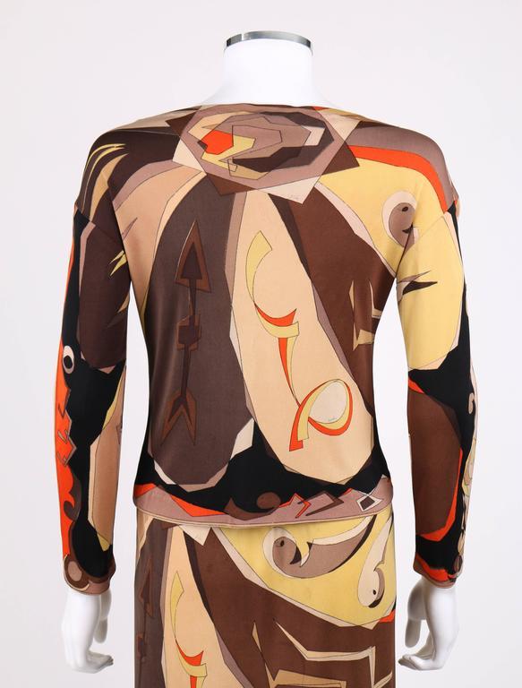 Women's EMILIO PUCCI 1960s 2 Piece Brown Arrow Signature Print Silk Jersey Top Skirt Set For Sale