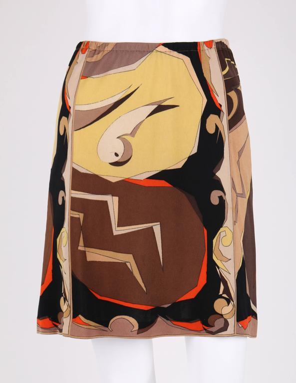EMILIO PUCCI 1960s 2 Piece Brown Arrow Signature Print Silk Jersey Top Skirt Set For Sale 1