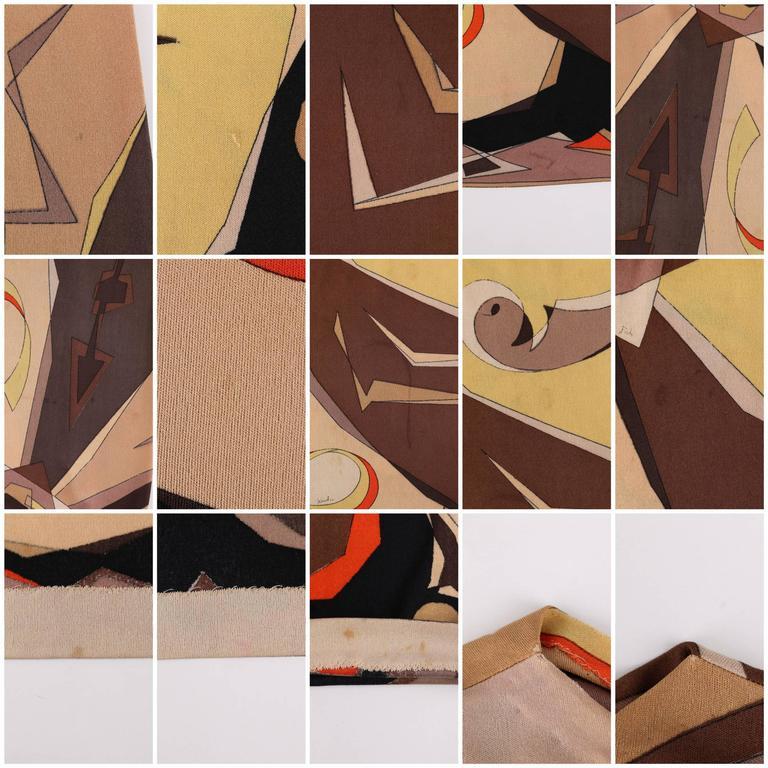 EMILIO PUCCI 1960s 2 Piece Brown Arrow Signature Print Silk Jersey Top Skirt Set For Sale 6