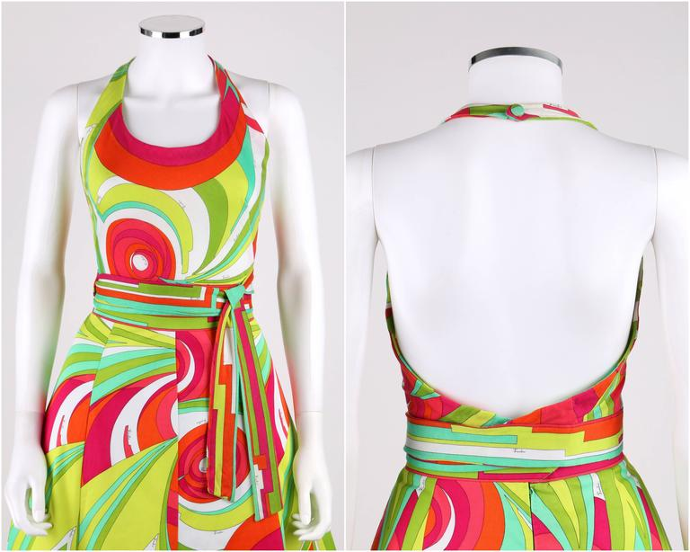 EMILIO PUCCI 1970s 3 Piece Multicolor Signature Print Halter Top Shirt Skirt Set In Good Condition For Sale In Thiensville, WI