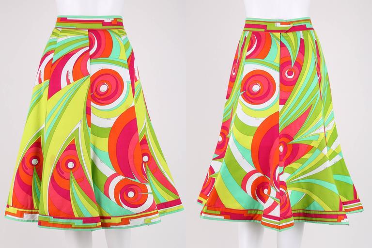 EMILIO PUCCI 1970s 3 Piece Multicolor Signature Print Halter Top Shirt Skirt Set For Sale 1