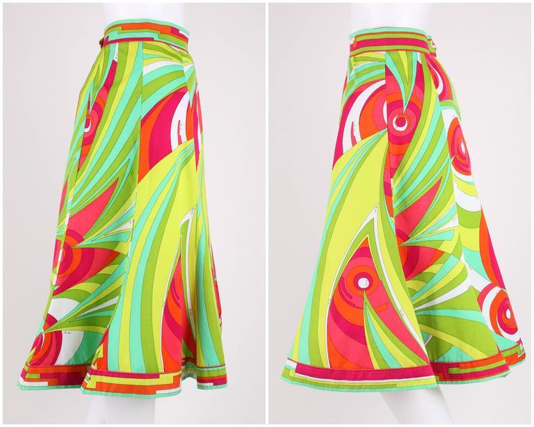 EMILIO PUCCI 1970s 3 Piece Multicolor Signature Print Halter Top Shirt Skirt Set For Sale 2