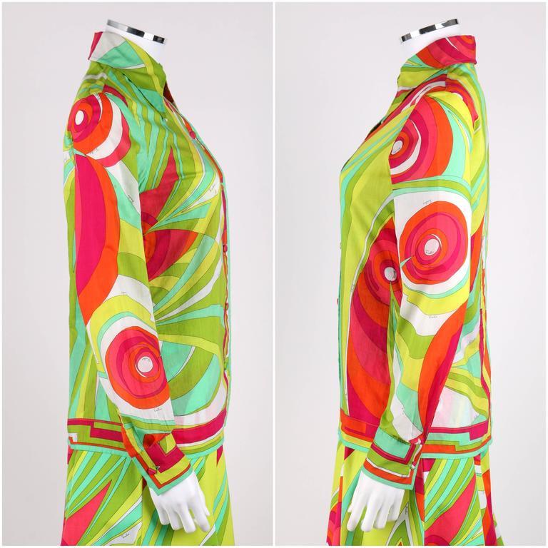 Green EMILIO PUCCI 1970s 3 Piece Multicolor Signature Print Halter Top Shirt Skirt Set For Sale