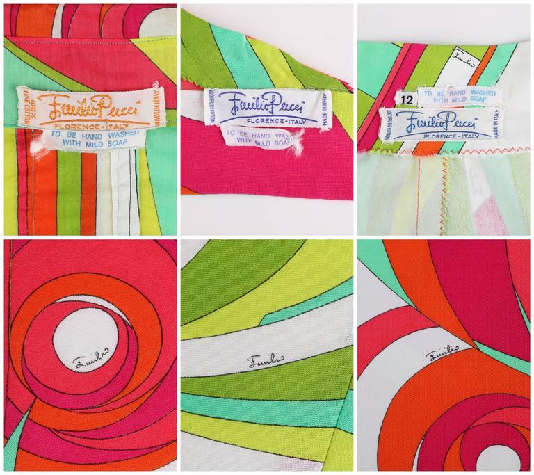 EMILIO PUCCI 1970s 3 Piece Multicolor Signature Print Halter Top Shirt Skirt Set For Sale 3