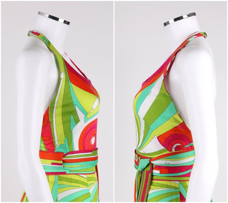 Women's EMILIO PUCCI 1970s 3 Piece Multicolor Signature Print Halter Top Shirt Skirt Set For Sale