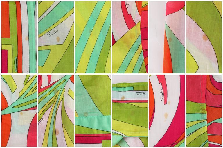 EMILIO PUCCI 1970s 3 Piece Multicolor Signature Print Halter Top Shirt Skirt Set For Sale 4