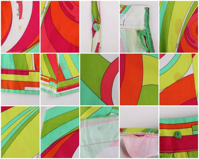 EMILIO PUCCI 1970s 3 Piece Multicolor Signature Print Halter Top Shirt Skirt Set For Sale 5