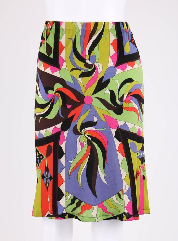 EMILIO PUCCI 1960s 2pc Multicolor Signature Print Silk V-neck Top Skirt Dress For Sale 3