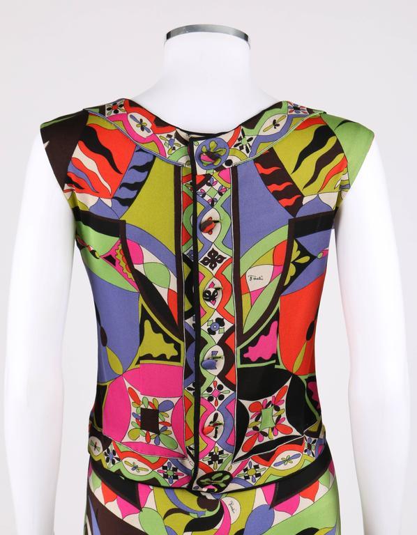 Women's EMILIO PUCCI 1960s 2pc Multicolor Signature Print Silk V-neck Top Skirt Dress For Sale