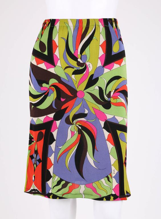 EMILIO PUCCI 1960s 2pc Multicolor Signature Print Silk V-neck Top Skirt Dress For Sale 1