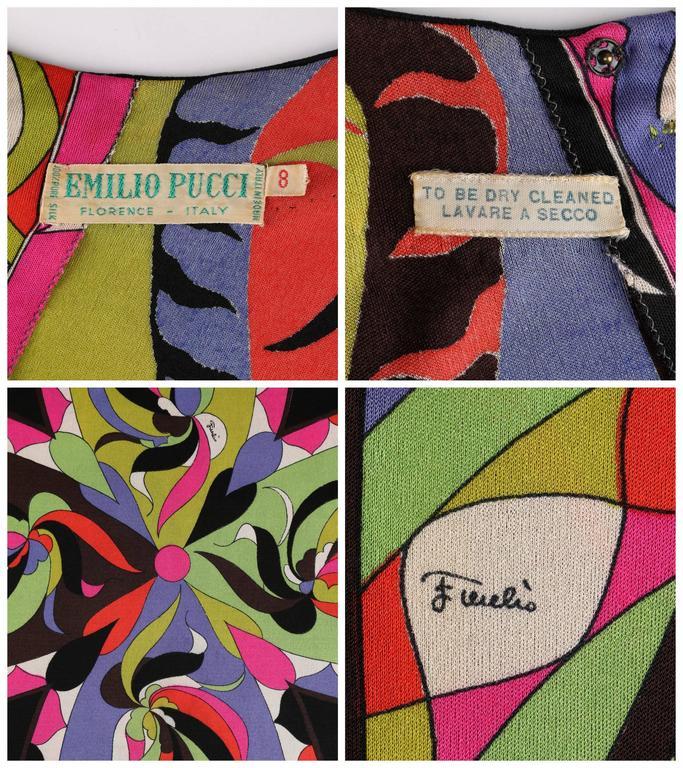 EMILIO PUCCI 1960s 2pc Multicolor Signature Print Silk V-neck Top Skirt Dress For Sale 4
