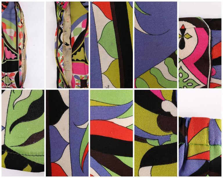 EMILIO PUCCI 1960s 2pc Multicolor Signature Print Silk V-neck Top Skirt Dress For Sale 5