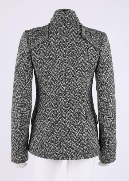 CHANEL A/W 2008 Collection Black White Wool Tweed Herringbone Dual Flap Jacket In Excellent Condition For Sale In Thiensville, WI