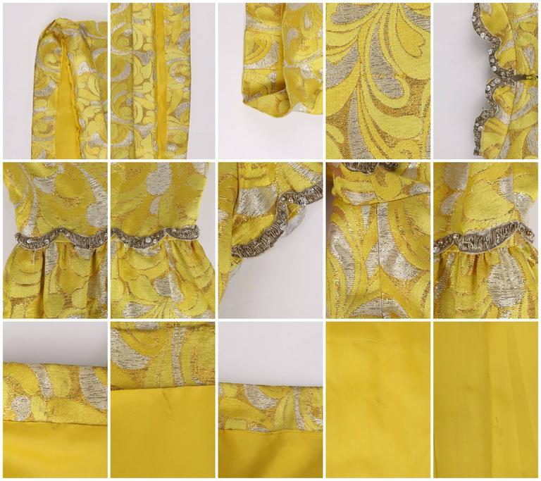 OSCAR de la RENTA c.1968 Yellow Lurex Brocade Silk Beaded Evening Gown Dress For Sale 6