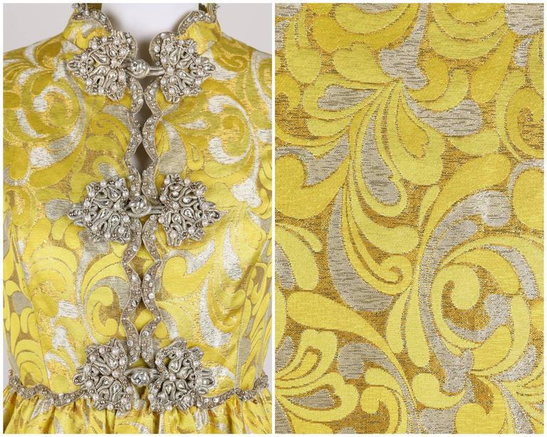 OSCAR de la RENTA c.1968 Yellow Lurex Brocade Silk Beaded Evening Gown Dress For Sale 2
