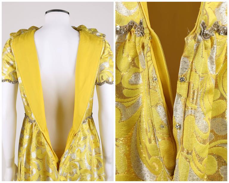 OSCAR de la RENTA c.1968 Yellow Lurex Brocade Silk Beaded Evening Gown Dress For Sale 4