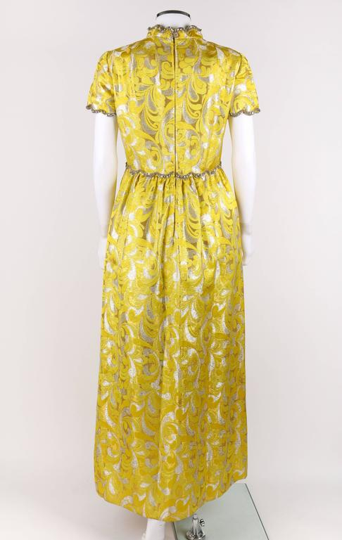 Women's OSCAR de la RENTA c.1968 Yellow Lurex Brocade Silk Beaded Evening Gown Dress For Sale