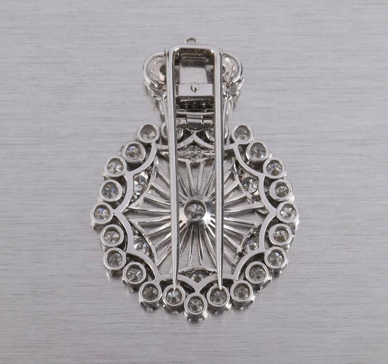 BOUCHERON 1940's Paris Diamond Platinum Circle Crown Brooch Fur Clip Pin 2