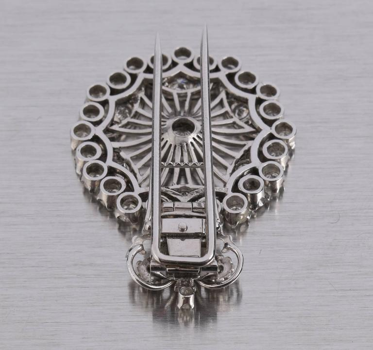 BOUCHERON 1940's Paris Diamond Platinum Circle Crown Brooch Fur Clip Pin 6