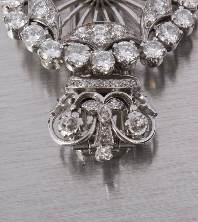 BOUCHERON 1940's Paris Diamond Platinum Circle Crown Brooch Fur Clip Pin 8