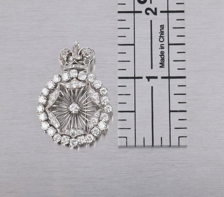BOUCHERON 1940's Paris Diamond Platinum Circle Crown Brooch Fur Clip Pin 10