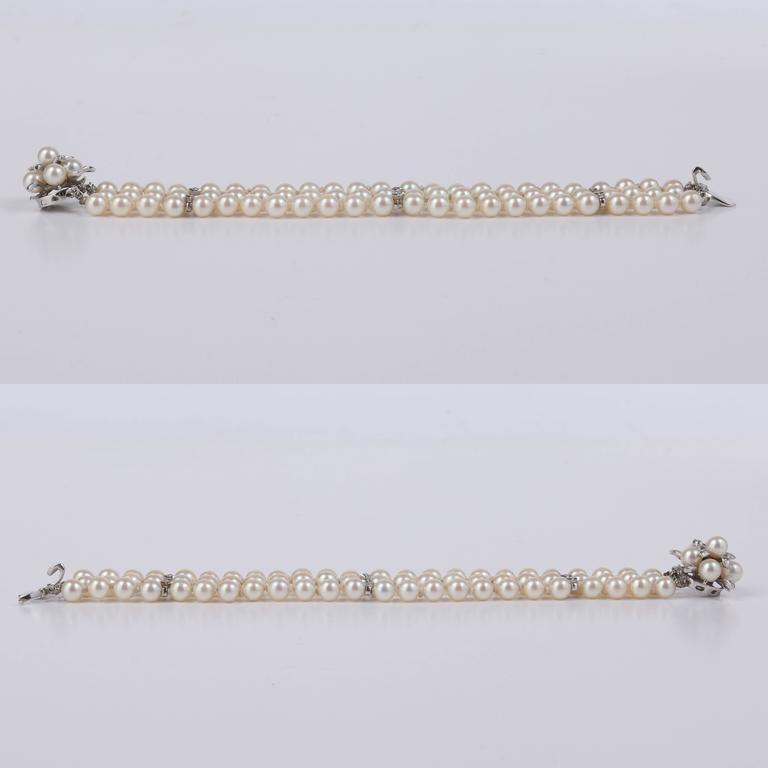 CULTURED PEARL c.1950's 6MM 14KT White Gold Triple Strand Floral Bracelet 6