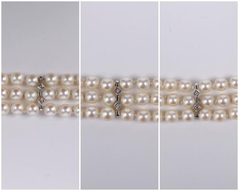 CULTURED PEARL c.1950's 6MM 14KT White Gold Triple Strand Floral Bracelet 8