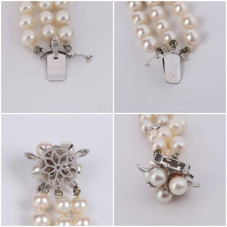CULTURED PEARL c.1950's 6MM 14KT White Gold Triple Strand Floral Bracelet 9