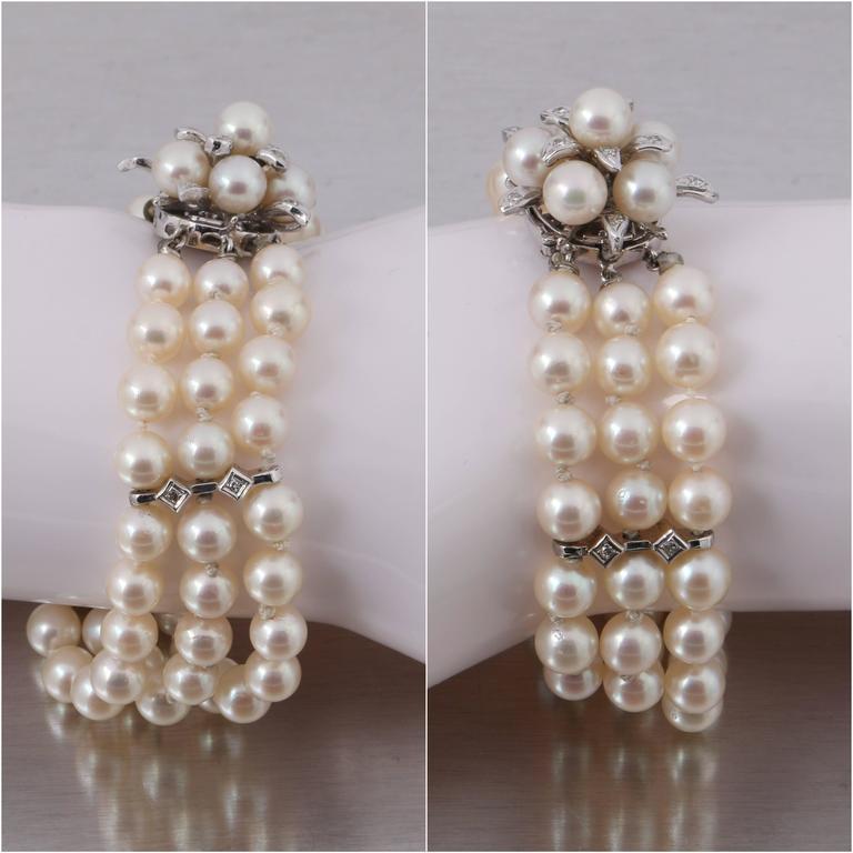 CULTURED PEARL c.1950's 6MM 14KT White Gold Triple Strand Floral Bracelet 5