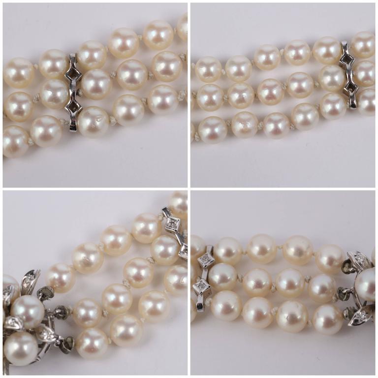 CULTURED PEARL c.1950's 6MM 14KT White Gold Triple Strand Floral Bracelet 10