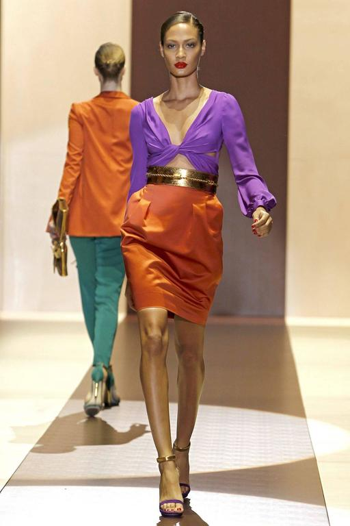 GUCCI S/S 2011 Purple Orange Color Block Knotted Midriff Cutout Cocktail Dress For Sale 5