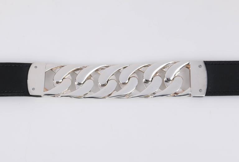 d129a2aec60b6 GUCCI Sterling Silber Gliederkette schwarz Leder gemischtes Material Gürtel  Größe 7 8