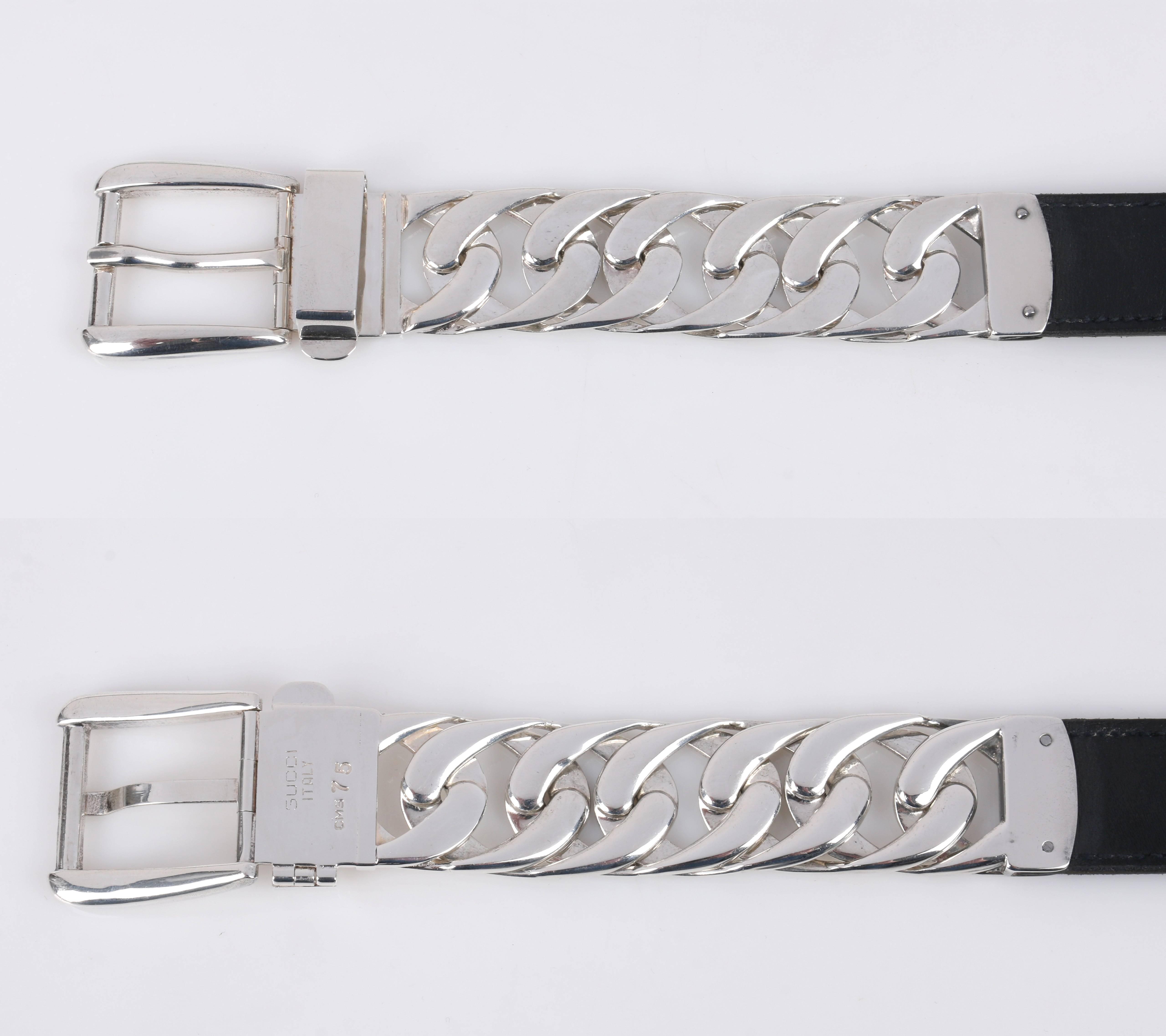 2c2f65b7e58bc GUCCI Sterling Silber Gliederkette schwarz Leder gemischtes Material Gürtel  Größe 7 im Angebot bei 1stdibs