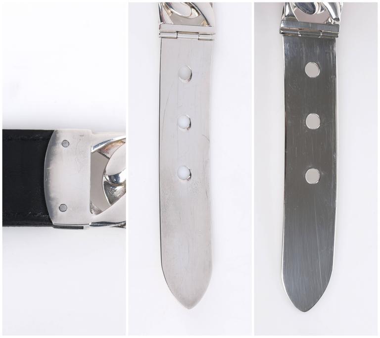 acff846f108ae GUCCI Sterling Silber Gliederkette schwarz Leder gemischtes Material Gürtel  Größe 7 10