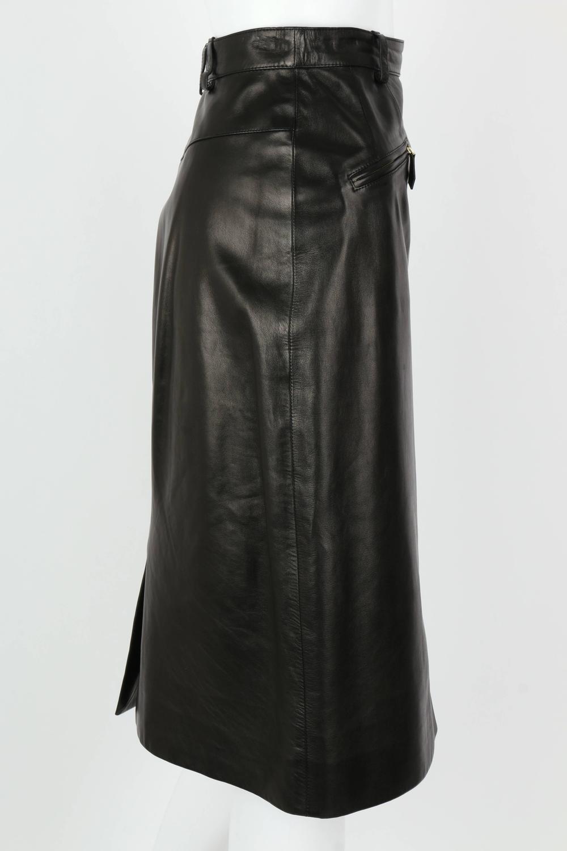 hermes c 1990 s black genuine lambskin leather zipper