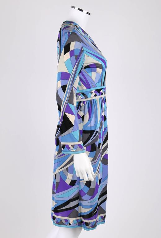 EMILIO PUCCI c.1960's Blue Signature Print V-neckline Long Sleeve Silk Dress In Excellent Condition For Sale In Thiensville, WI