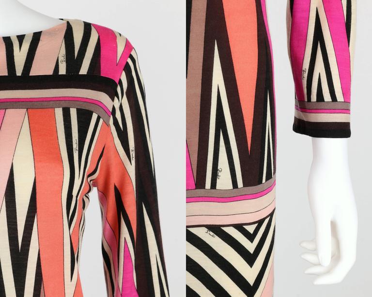 EMILIO PUCCI c.1960's Multicolor Zigzag Signature Print Drop Waist Shift Dress For Sale 3