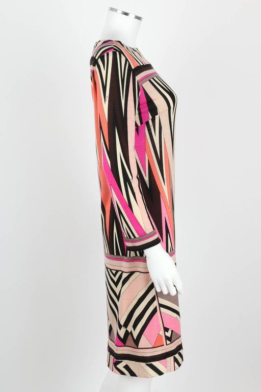 Beige EMILIO PUCCI c.1960's Multicolor Zigzag Signature Print Drop Waist Shift Dress For Sale