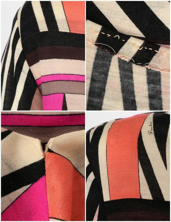 EMILIO PUCCI c.1960's Multicolor Zigzag Signature Print Drop Waist Shift Dress For Sale 4